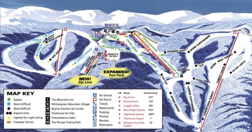 wintergreen ski resort map